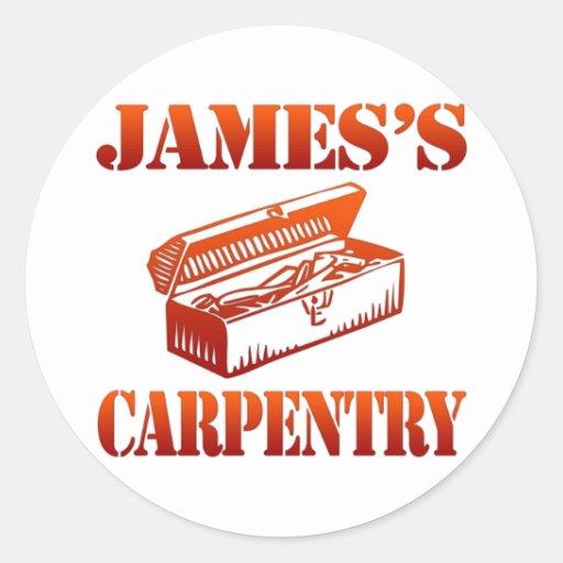 La carpintería de James Pegatina Redonda