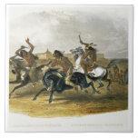 La carrera de caballos de los indios de Siux acerc Azulejo Cuadrado Grande
