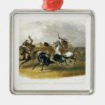 La carrera de caballos de los indios de Siux acerc Ornamento De Navidad