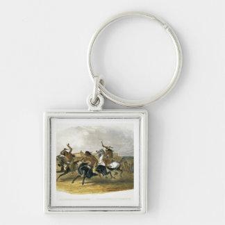 La carrera de caballos de los indios de Siux acerc Llavero Cuadrado Plateado