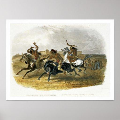 La carrera de caballos de los indios de Siux acerc Póster