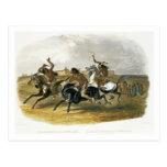 La carrera de caballos de los indios de Siux acerc Postales
