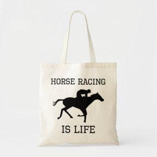 La carrera de caballos es vida bolsa lienzo