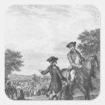 La carrera de caballos calcomanías cuadradass personalizadas