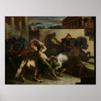 La carrera de caballos salvaje en Roma, c.1817 Posters