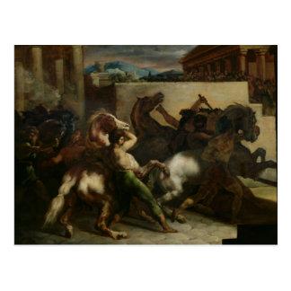 La carrera de caballos salvaje en Roma, c.1817 Postal