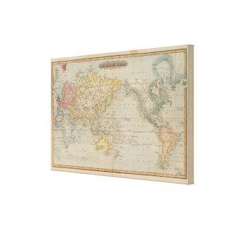 La carta de Mercator Impresión En Lienzo Estirada