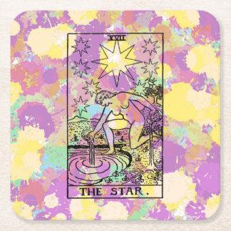 La carta de tarot de la estrella posavasos de cartón cuadrado