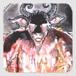 La carta de tarot del diablo calcomanía cuadrada