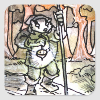 La carta de tarot del ermitaño pegatina cuadrada