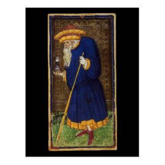 La carta de tarot del ermitaño postal