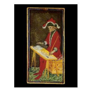 La carta de tarot del mago tarjeta postal