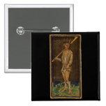 La carta de tarot del tonto pin cuadrada 5 cm