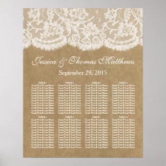 La carta del asiento de la colección del boda de póster