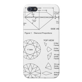 La carta del corte del diamante talla proporciones iPhone 5 funda