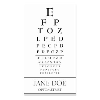 La carta del optometrista raya blanco plantilla de tarjeta personal