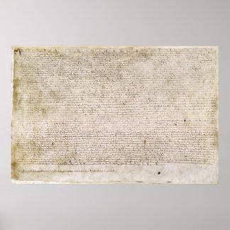 La Carta Magna de la carta 1215 de libertades Póster