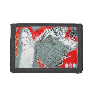 La cartera de nylon triple negra se descolora hada