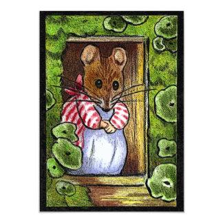 """La casa abierta invita: Señora Tittlemouse At Door Invitación 4.5"""" X 6.25"""""""