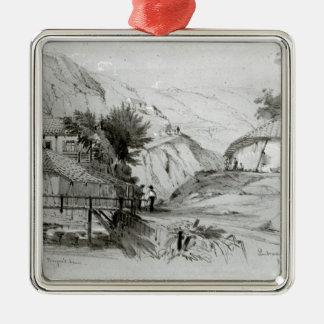 La casa de Berger, Valparaiso, 1834 Adorno Navideño Cuadrado De Metal