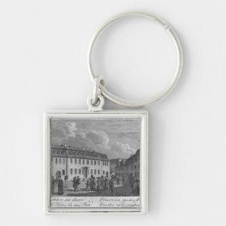 La casa de Johan Wolfgang von Goethe adentro Llavero Cuadrado Plateado