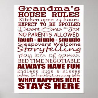 La casa de la abuela gobierna el poster 11x14