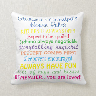 La casa de los abuelos gobierna la almohada cojín decorativo
