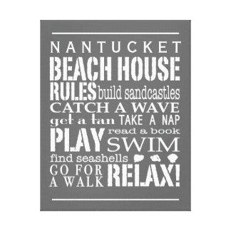 La casa de playa personalizada gobierna blanco del impresion de lienzo