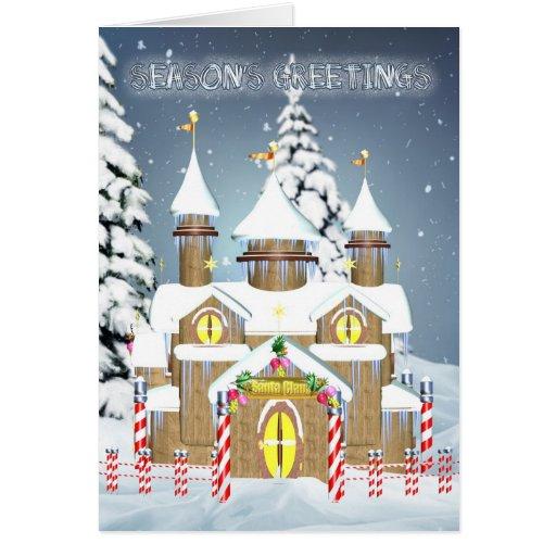 La casa de Santa de la tarjeta de Navidad, los sal