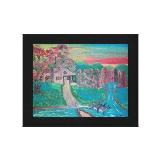 La casa del lago impresión en lienzo