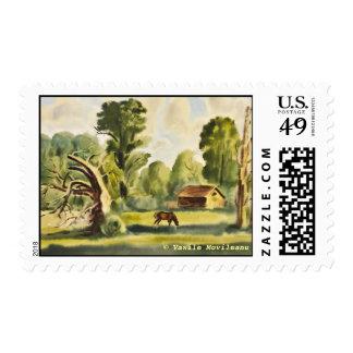 La casa del leñador timbre postal