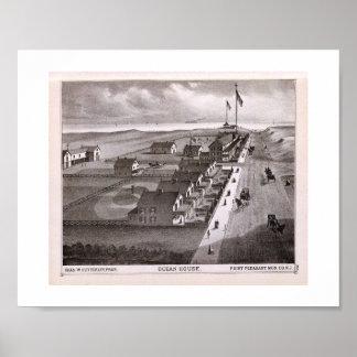 La casa del océano de la impresión de 1878 REPRO, Póster