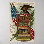La casa, Eagle y bandera de Betsey Ross Poster