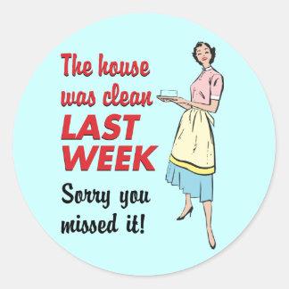 La casa era limpia etiquetas redondas