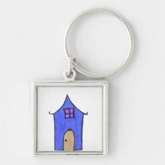 La casa mágica llavero cuadrado plateado