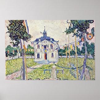 La casa municipal en Auvers de Vincent van Gogh Póster