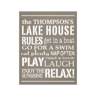 La casa personalizada del lago family gobierna el  impresión en tela