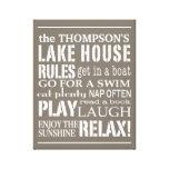 La casa personalizada del lago family gobierna el  impresiones de lienzo