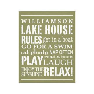 La casa personalizada del lago family gobierna impresión en lienzo