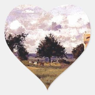 La casa roja de Camille Pissarro Pegatina En Forma De Corazón