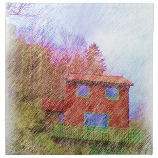 La casa roja servilleta de papel