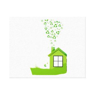 la casa verde con recicla el eco design.png del hu lienzo envuelto para galerías