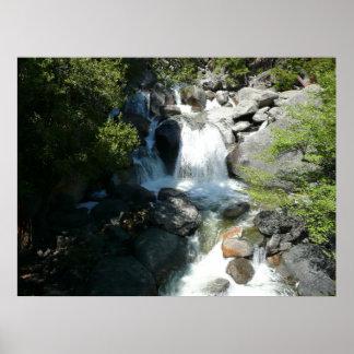 La cascada cae en el parque nacional de Yosemite Póster