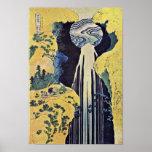 La cascada de Amida detrás del camino de Kiso (de Poster