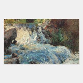 La cascada de John Henry Twachtman Pegatina Rectangular