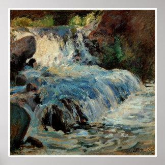 La cascada de John Henry Twachtman Póster