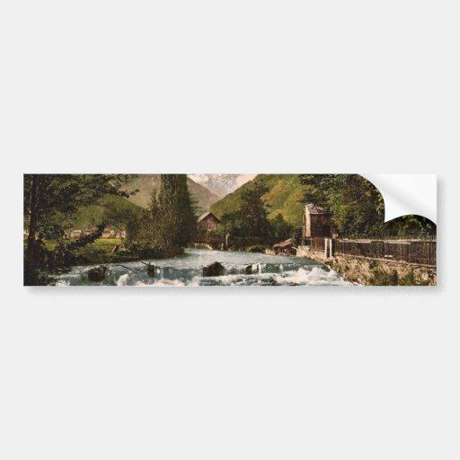 La cascada del piqué, Luchon, clas de los Pirineos Pegatina Para Auto