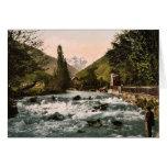 La cascada del piqué, Luchon, clas de los Pirineos Felicitaciones