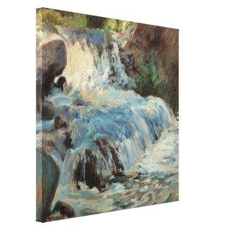 La cascada por Twachtman impresionismo del vintag
