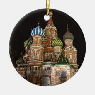 La catedral 2 de la albahaca del santo adorno navideño redondo de cerámica